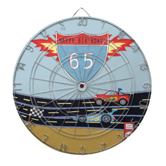 65th Birthday Stock Car Racing Theme Dartboards