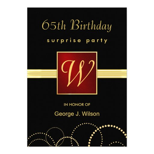 65th Birthday Surprise Party - Elegant Monogram Invite