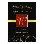65th Birthday Surprise Party - Elegant Monogram Personalised Invitation