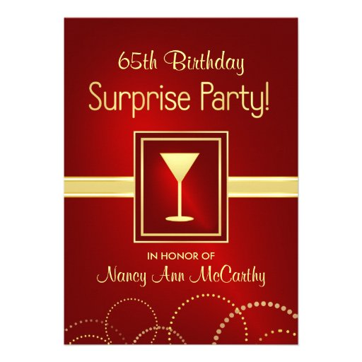 65th Birthday Surprise Party Invitations Personalized Announcements