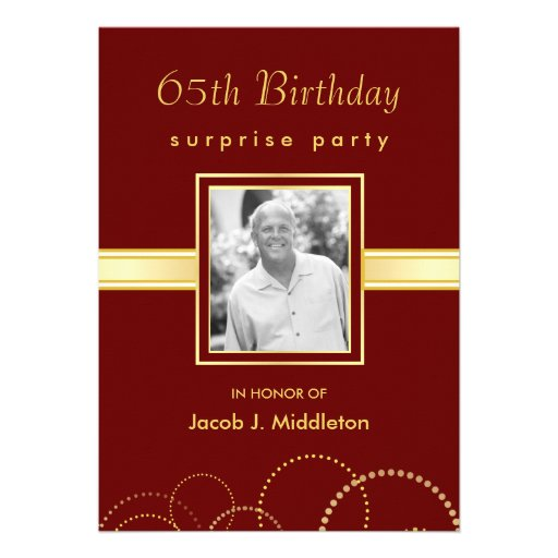 65th Birthday Surprise Party - Photo Optional Custom Invitation