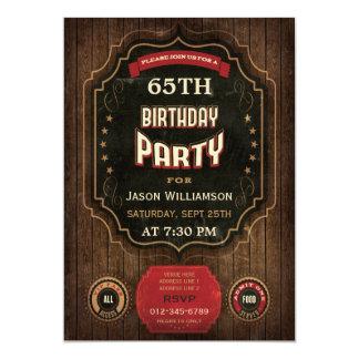 65th Birthday Vintage Chalkboard & Wood 13 Cm X 18 Cm Invitation Card