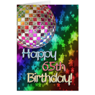 65th birthday with disco ball and rainbow of star greeting card