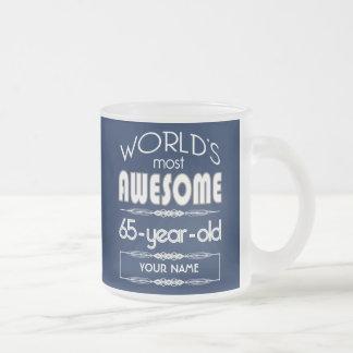 65th Birthday Worlds Best Fabulous Dark Blue Frosted Glass Mug