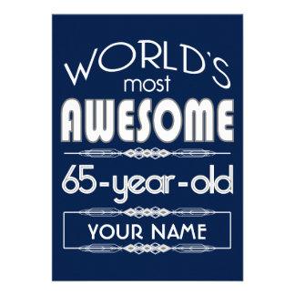 65th Birthday Worlds Best Fabulous Dark Blue Announcement
