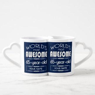 65th Birthday Worlds Best Fabulous Dark Blue Lovers Mug Sets