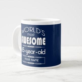 65th Birthday Worlds Best Fabulous Dark Blue Extra Large Mugs