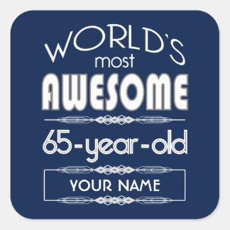 65th Birthday Worlds Best Fabulous Dark Blue Square Stickers