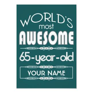65th Birthday Worlds Best Fabulous Dark Green 13 Cm X 18 Cm Invitation Card