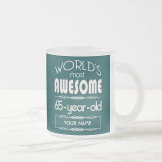 65th Birthday Worlds Best Fabulous Dark Green Frosted Glass Mug