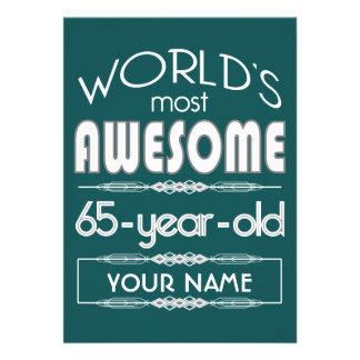 65th Birthday Worlds Best Fabulous Dark Green Custom Invitation