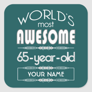 65th Birthday Worlds Best Fabulous Dark Green Stickers