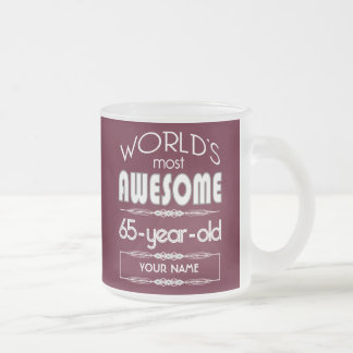 65th Birthday Worlds Best Fabulous Dark Red Frosted Glass Mug