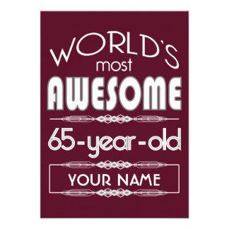 65th Birthday Worlds Best Fabulous Dark Red Custom Invitations