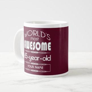 65th Birthday Worlds Best Fabulous Dark Red Jumbo Mug