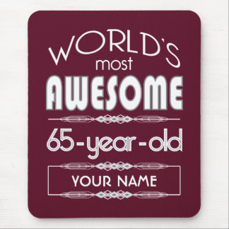65th Birthday Worlds Best Fabulous Dark Red Mouse Pad