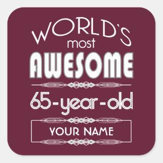 65th Birthday Worlds Best Fabulous Dark Red Stickers