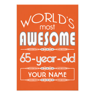 65th Birthday Worlds Best Fabulous Flame Orange Personalized Invite