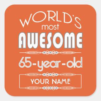 65th Birthday Worlds Best Fabulous Flame Orange Sticker