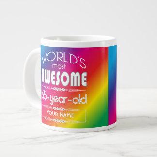 65th Birthday Worlds Best Fabulous Rainbow Jumbo Mug