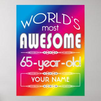65th Birthday Worlds Best Fabulous Rainbow Posters