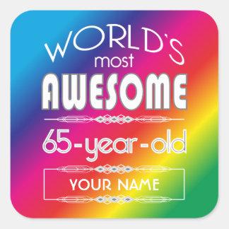 65th Birthday Worlds Best Fabulous Rainbow Stickers
