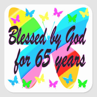 65TH BLESSED BY GOD BUTTERFLY DESIGN SQUARE STICKER
