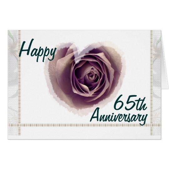65th Happy Wedding Anniversary - Purple Rose Heart