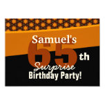 65th Surprise Birthday Gold and Black Stars Custom Invites