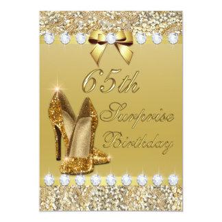 65th Surprise Birthday Gold Heels Sequins Diamonds 13 Cm X 18 Cm Invitation Card