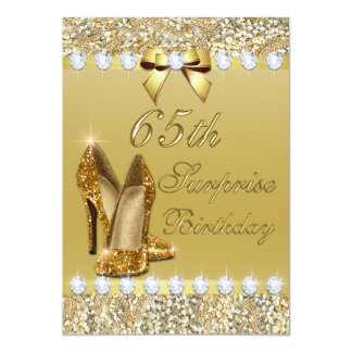65th Surprise Birthday Gold Heels Sequins Diamonds Card