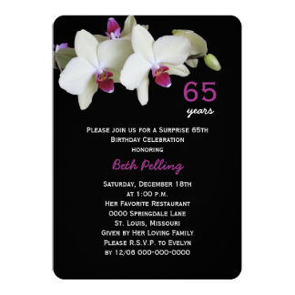 65th Surprise Birthday Party Floral Orchid 13 Cm X 18 Cm Invitation Card