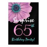 65th Surprise Birthday Pretty Pink Daisy Metallic Invitation