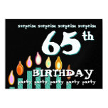 65th SURPRISE Birthday Teal Candles Personalised Invitations
