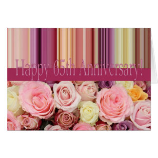 65th Wedding Anniversary Card -Pastel roses stripe