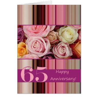 65th Wedding Anniversary Card -Pastel roses stripe