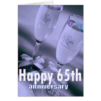 65th wedding anniversary champagne celebration greeting card