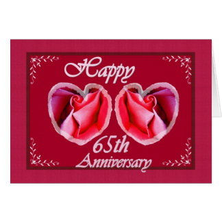 65th Wedding Anniversary Fern Filled Heart Greeting Card