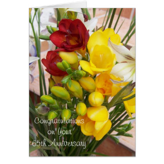 65th Wedding Anniversary Freesias Card