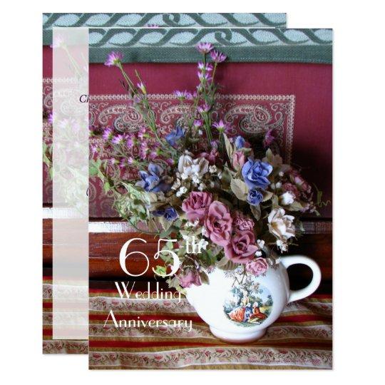 65th Wedding Anniversary Invitation Vintage Teapot