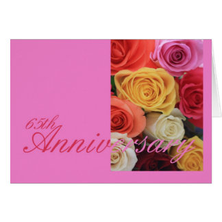 65th Wedding Anniversary mixed rose bouquet Greeting Card