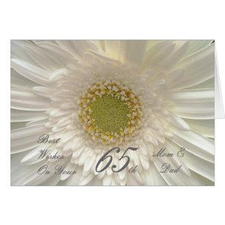 65th Wedding Anniversary Mom & Dad White Gerbera Card