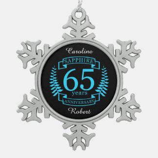 65th Wedding ANNIVERSARY SAPPHIRE Pewter Snowflake Decoration