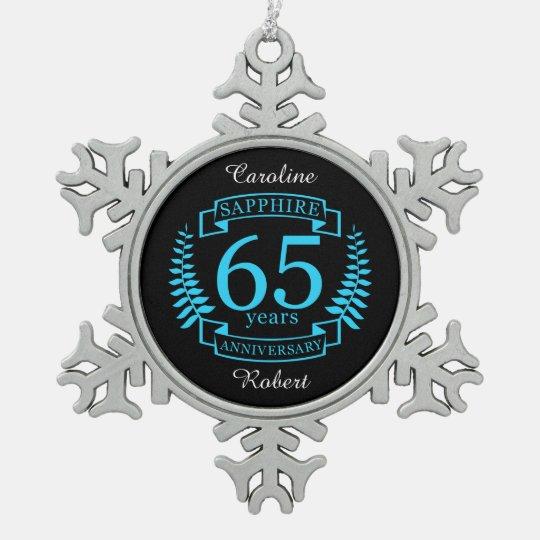 65th Wedding ANNIVERSARY SAPPHIRE Snowflake Pewter Christmas