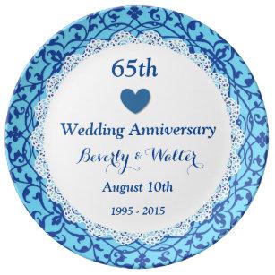 65th Wedding Anniversary Sky Blue Vines B07 Plate