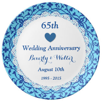 65th Wedding Anniversary Sky Blue Vines B07 Plate