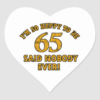 65th year old gifts heart sticker