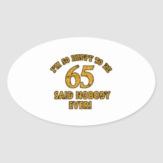 65th year old gifts oval sticker