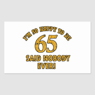 65th year old gifts rectangular sticker