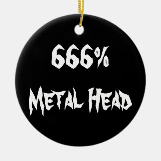 666%Metal Head Round Ceramic Decoration